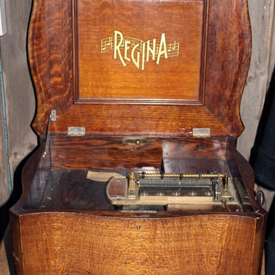 A hand-cranked record player is one of many interesting exhibits.